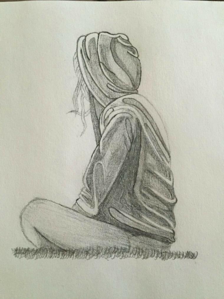 Schizzo a matita, disegno di una ragazza, dipingere su foglio bianco