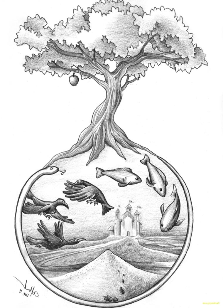 Disegni a matita facili, cerchio con fondale marino, albero con frutto