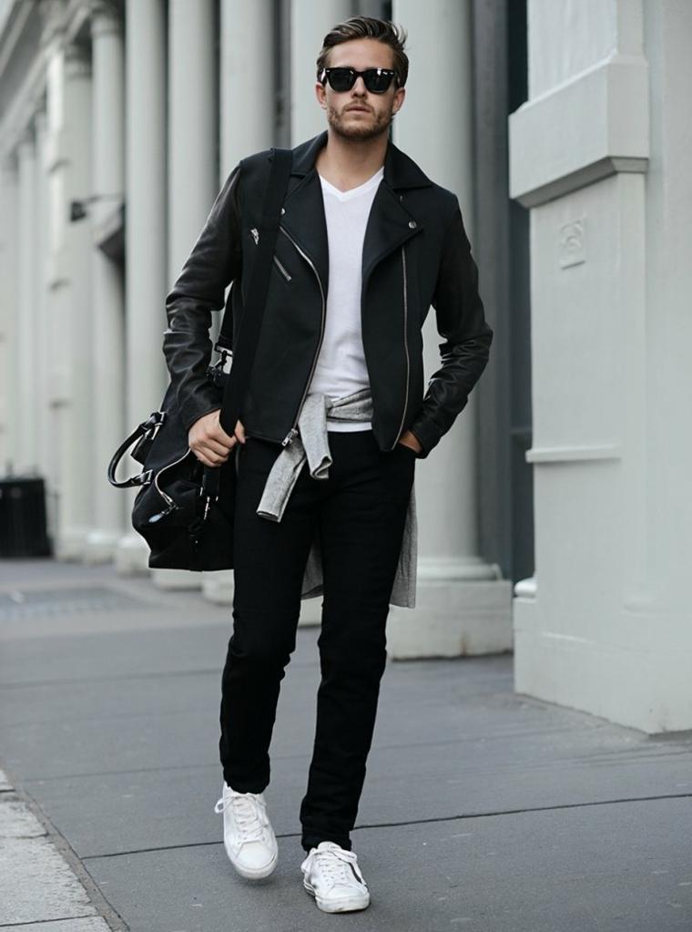 Abbigliamento casual da uomo, giacca di pelle nera, capelli rasati ai lati