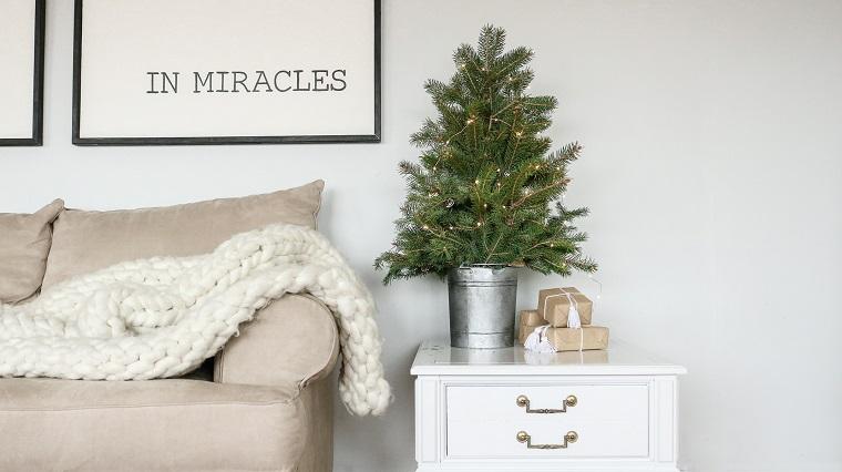 Alberello di Natale in secchio, secchio di metallo, divano di colore grigio