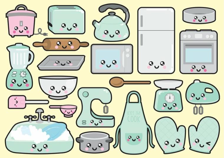 Disegni facili da disegnare, attrezzi domestici, disegni colorati della cucina