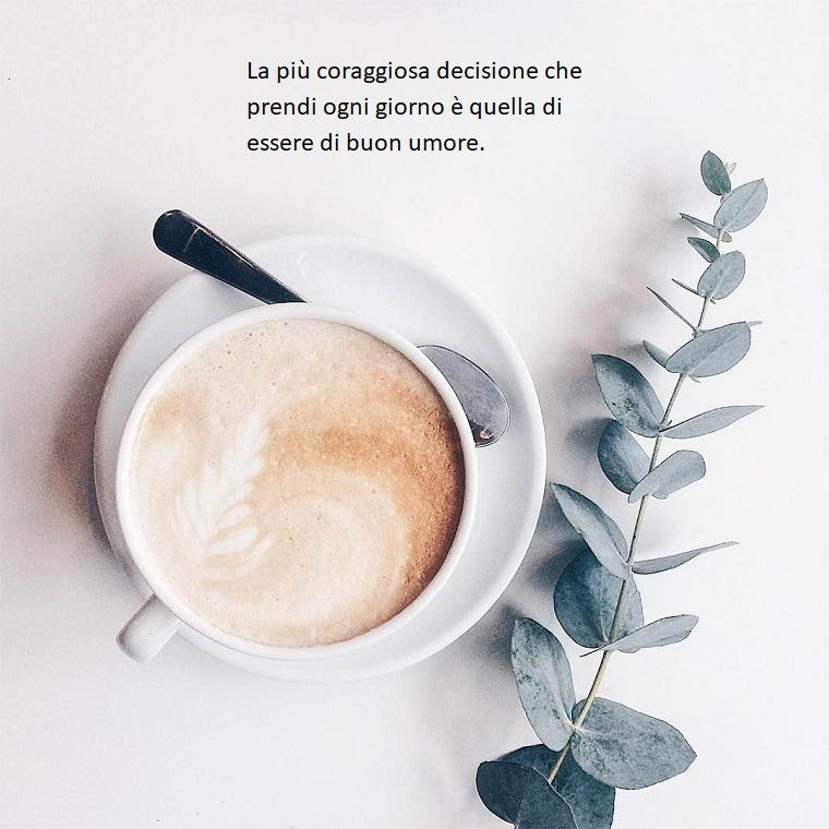 Rametto con foglie, immagini con frasi significative, tazza di cappuccino