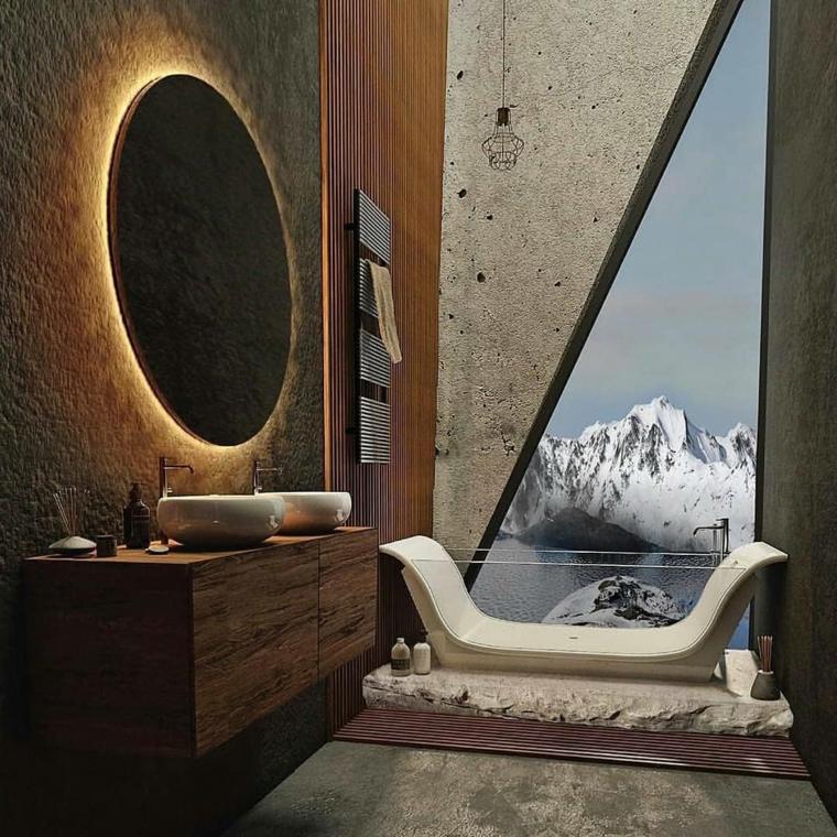 Vasca di vetro, bagno di legno, vista dal bagno