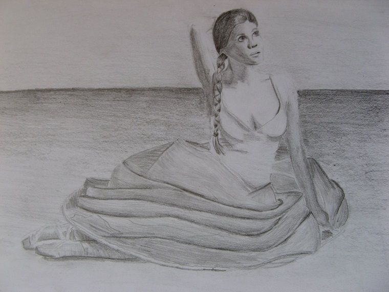 Ritratto femminile, disegno di una ballerina, ragazza con treccia