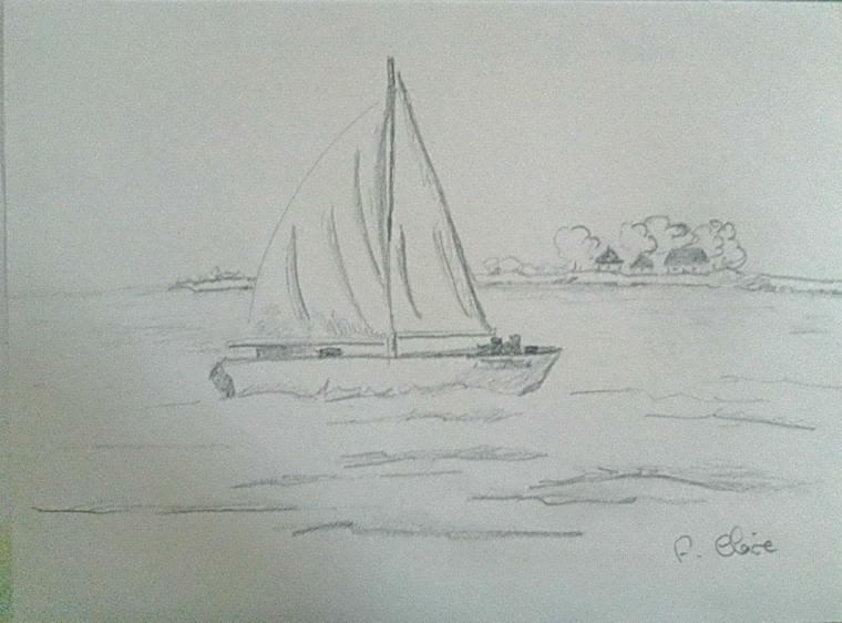 Barca in mare, impara a disegnare, abbozzo a matita
