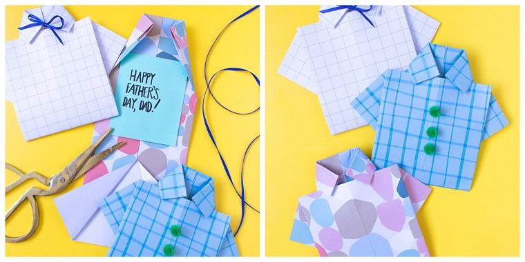 Cosa regalare per la festa del papà, bigliettino in camicia, camicia di fogli colorati