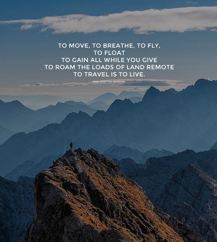 Immagini con frasi significative, montagne con rocce, foto con frase in inglese