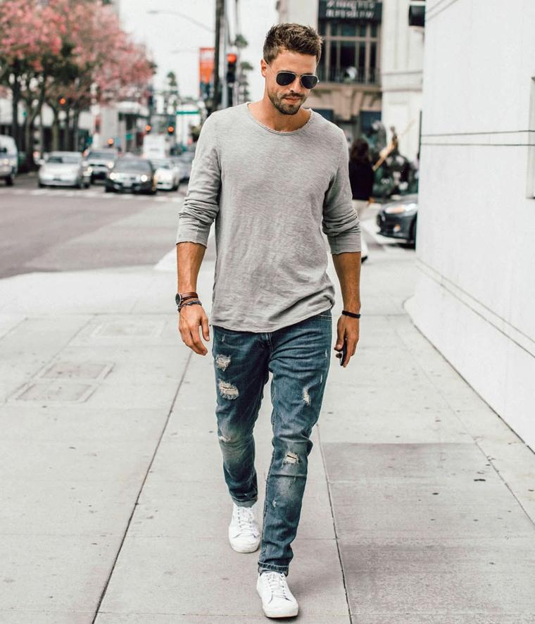 Tagli capelli maschili, uomo con jeans e maglietta, ragazzo con barba