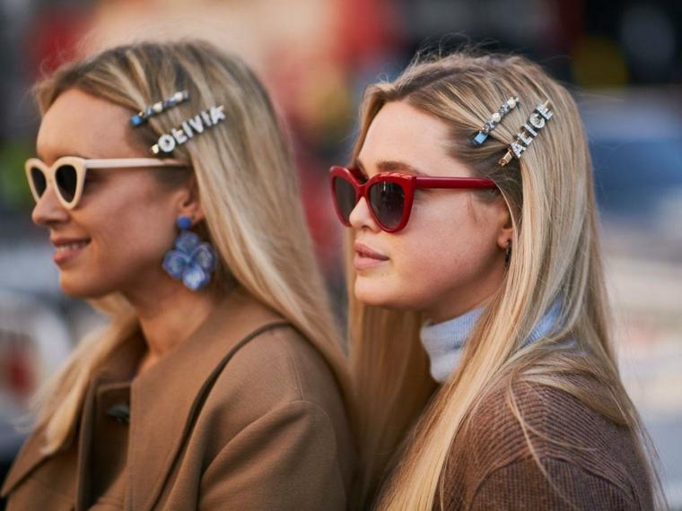 Degradè biondo su capelli castani, capelli lunghi biondi, accessori per capelli mollette