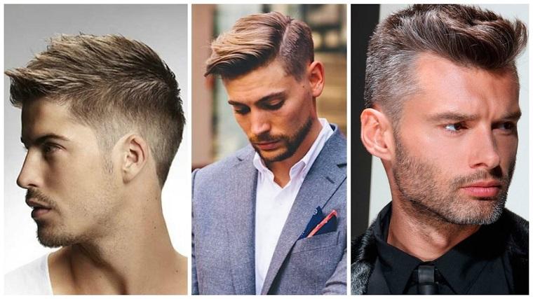 Pettinature uomo, tre ragazzi con capelli sfumati, acconciatura con rasato ai lati