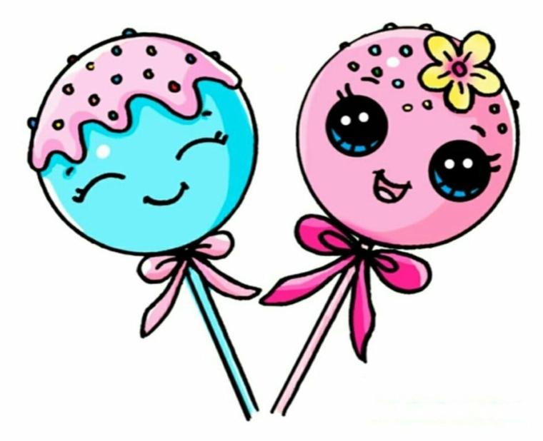 Disegni belli e facili, disegno colorato di lecca lecca, ciuppino kawaii colorato