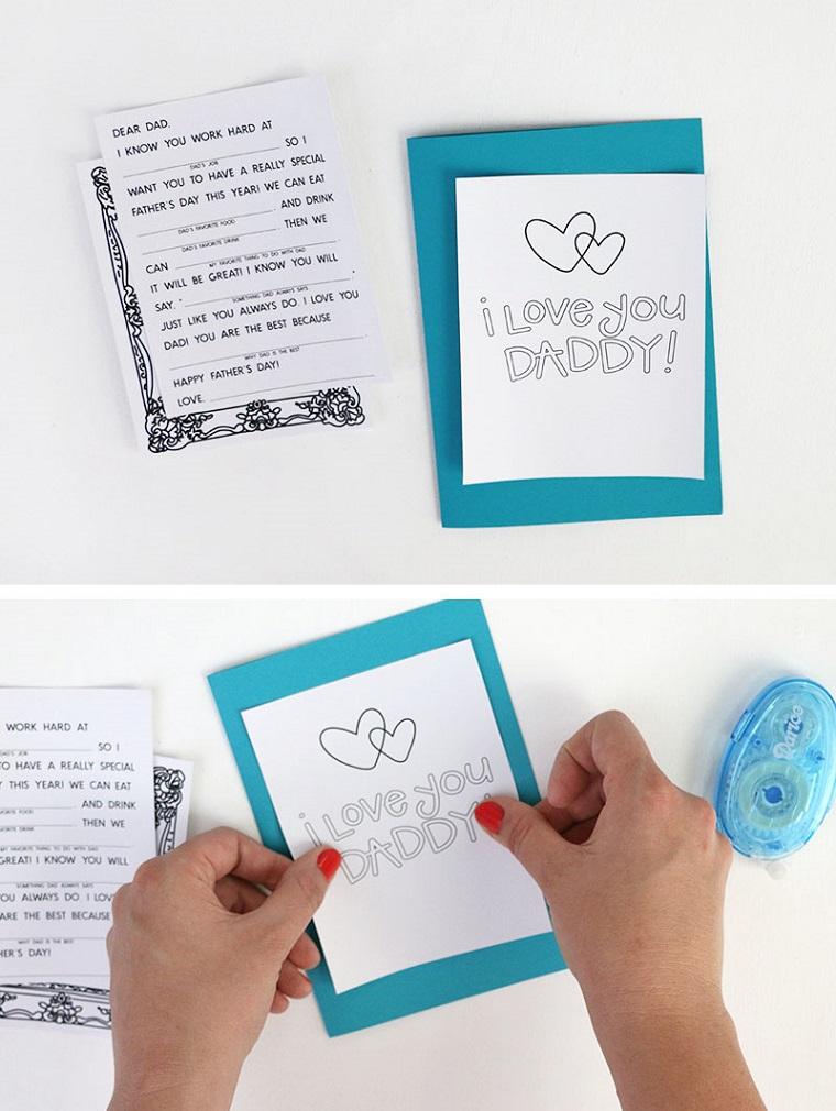 Lavoretti per il papà fai da te, cartolina con scritta, foglio di colore blu