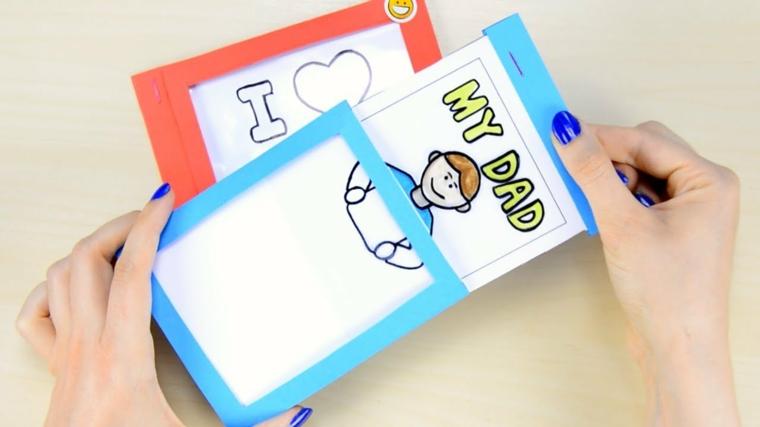 Lavoretto per bambini, cartolina con disegno, disegno colorato