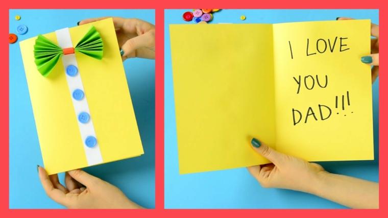 Cartolina di colore giallo, scritta con pennarello, regalo per il papà