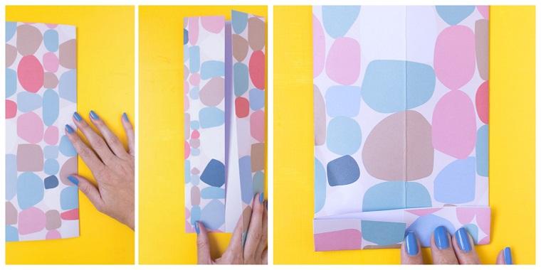 Lavoretti papà scuola primaria, fogli di carta colorati, mano di una donna
