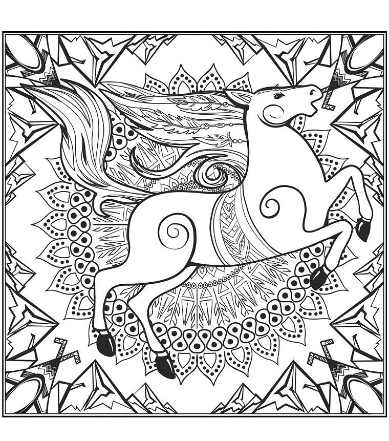 Disegni da colorare antistress, disegno di un mandala, disegno di un cavallo