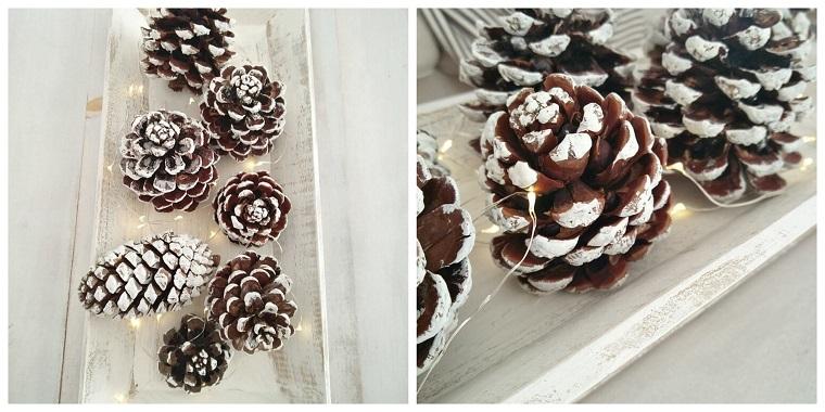 Centrotavola natalizio idee, decorazioni con pigne, filo luminoso