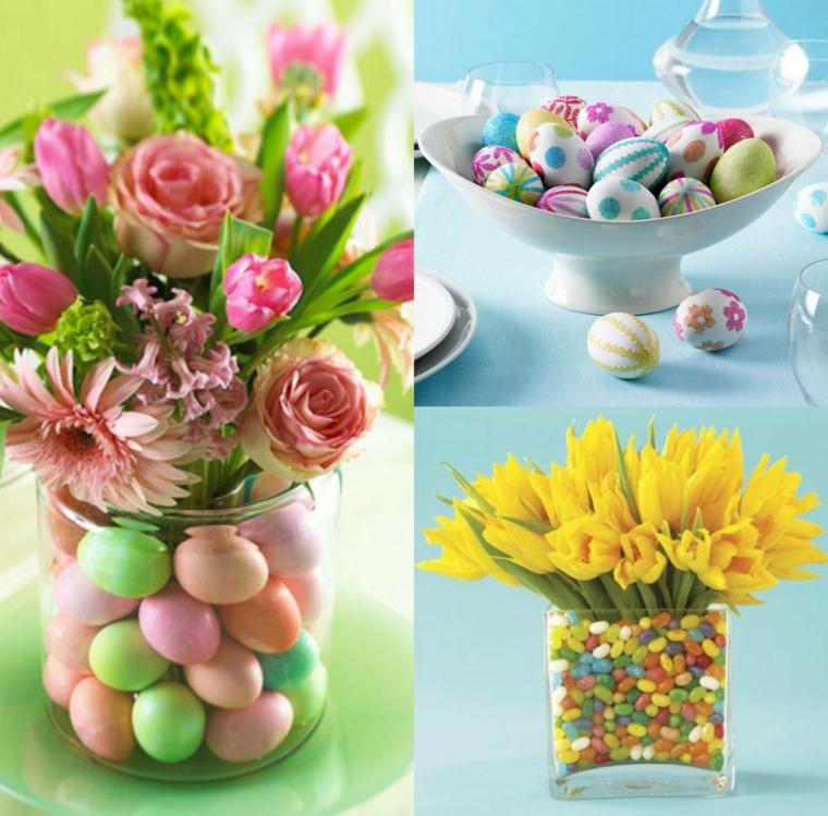 Centrotavola pasquali fai da te, bouquet di fiori, barattolo di vetro, uova di Pasqua dipinte