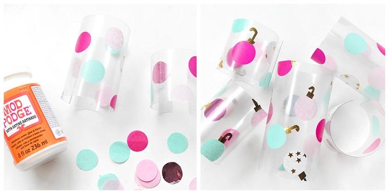 Tavole natalizie, bottiglie di plastica tagliate, carta crespa tagliata in cerchi