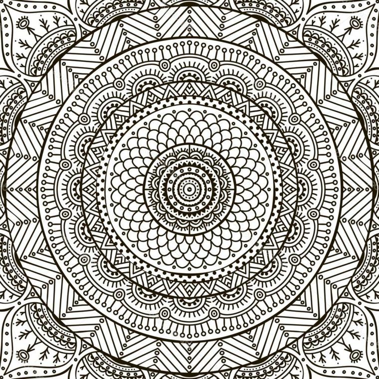 Mandala difficile da colorare, disegno di semicerchi