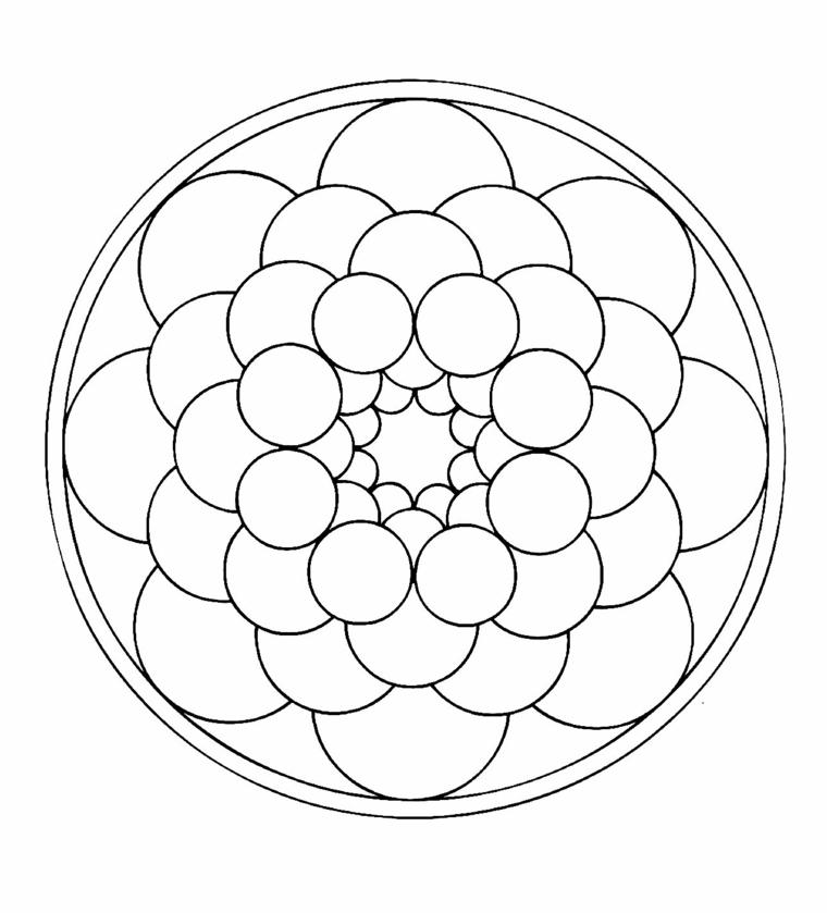 Tipi di mandala, cerchio con due linee, piccoli cerchi all'interno