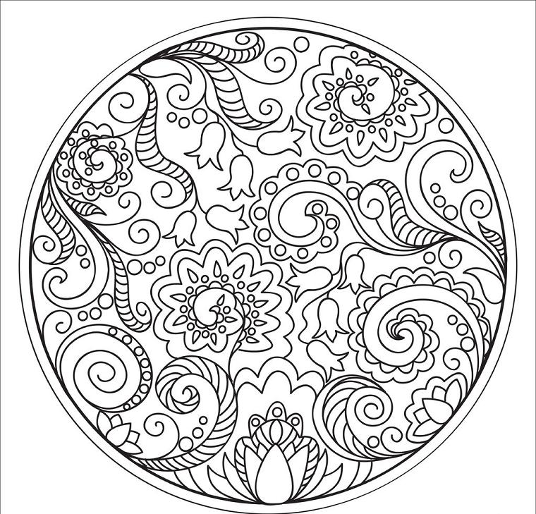 Mandala a spirale, disegni di fiore, come disegnare un mandala