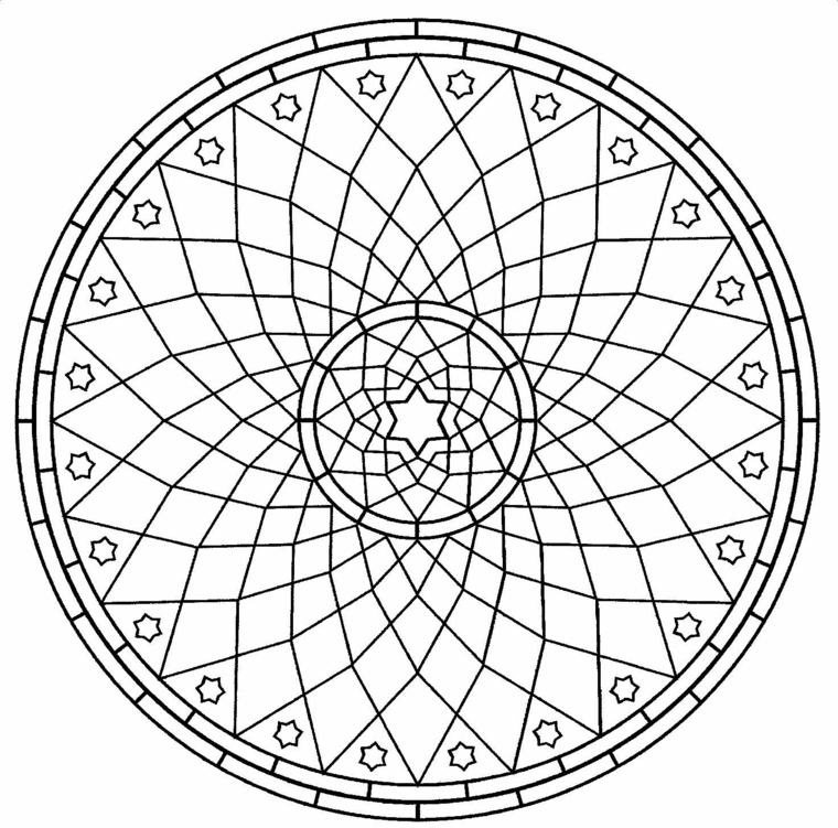 Mandala con cerchio, stelle e figure geometriche, disegno da colorare