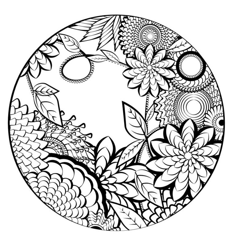 Mandala da colorare e stampare, disegno di fiori, cerchio con disegni