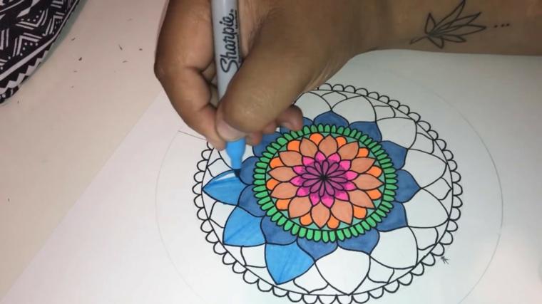 Disegni da colorare antistress, disegno con motivi mandala