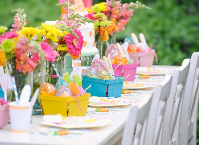 Centrotavola pasquali fai da te, cestini con uova, uova dipinte per Pasqua