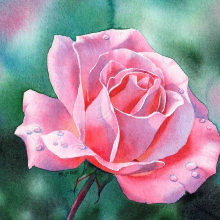 Disegno colorato realistico, come disegnare una rosa, rosa con petali di colore rosa