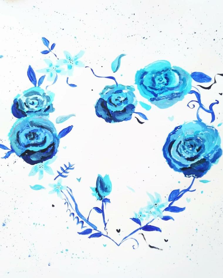 Disegni tumblr facili, rose dipinte di blu, schizzo con tempere
