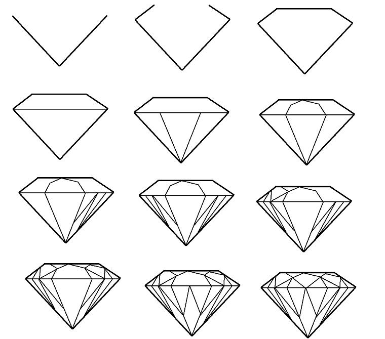 Rappresentazione grafica di un diamante, come disegnare un diamante, impara a disegnare