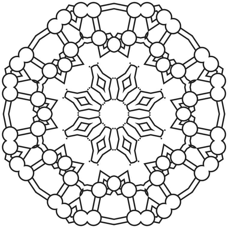 Mandala da colorare e stampare, disegno con cerchi, disegno da colorare