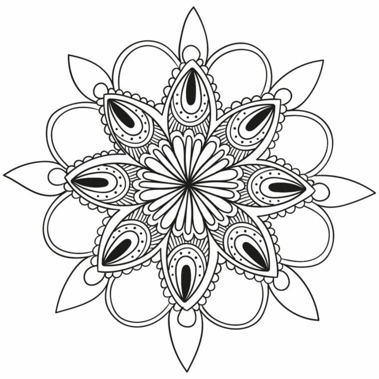 Petali di fiore, disegni da colorare antistress, ornamenti con semicerchi