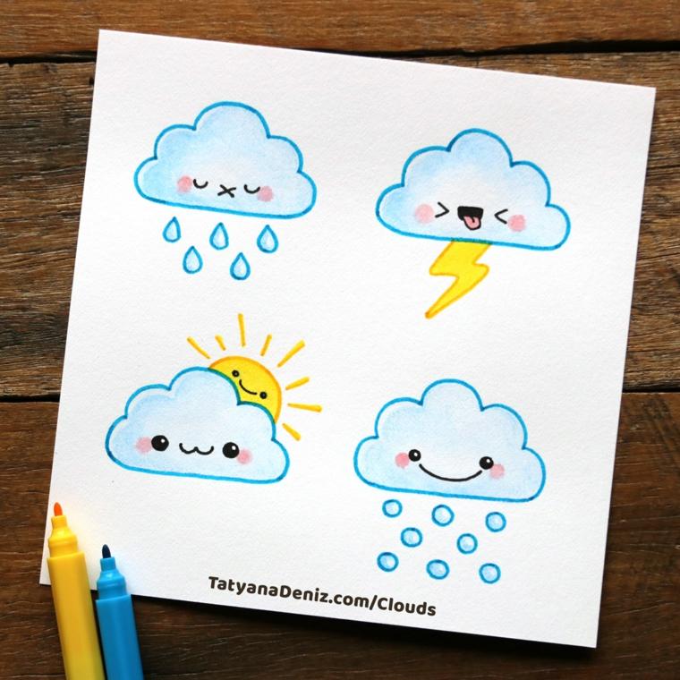 Disegni facili ma belli, disegno di una nuvola, quattro nuvole con sole e neve, nuvola kawaii
