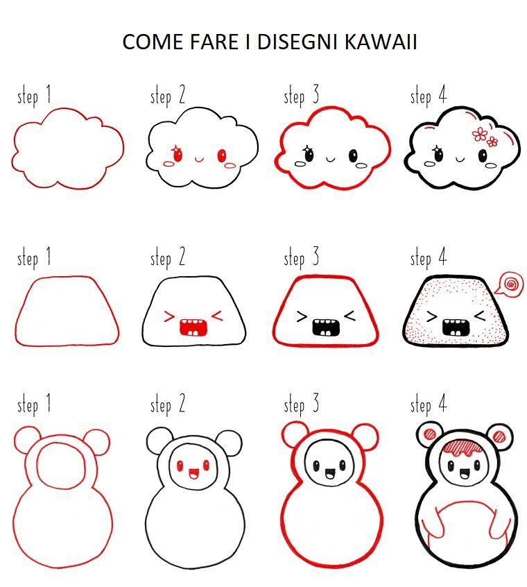 Disegni facili da fare, disegno di una nuvole, tutorial per disegnare un orsetto