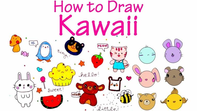 Disegni facili ma belli, disegno kawaii da fare, schizzi colorati per bambini