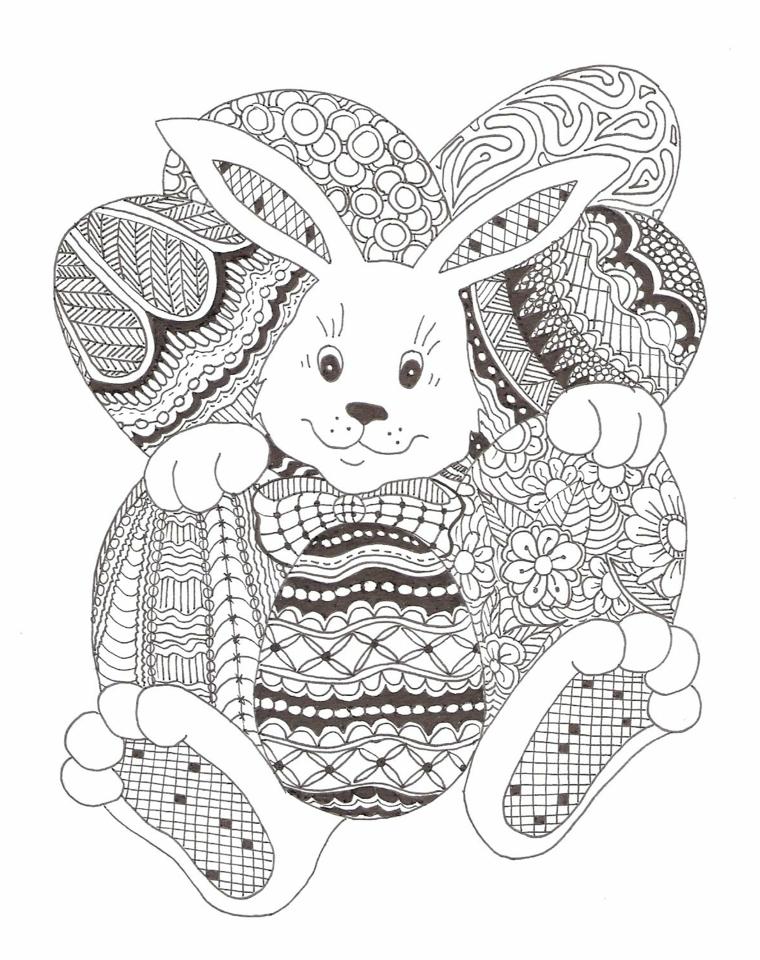 Mandala da colorare, disegno con coniglietto, uova di pasqua con ornamenti