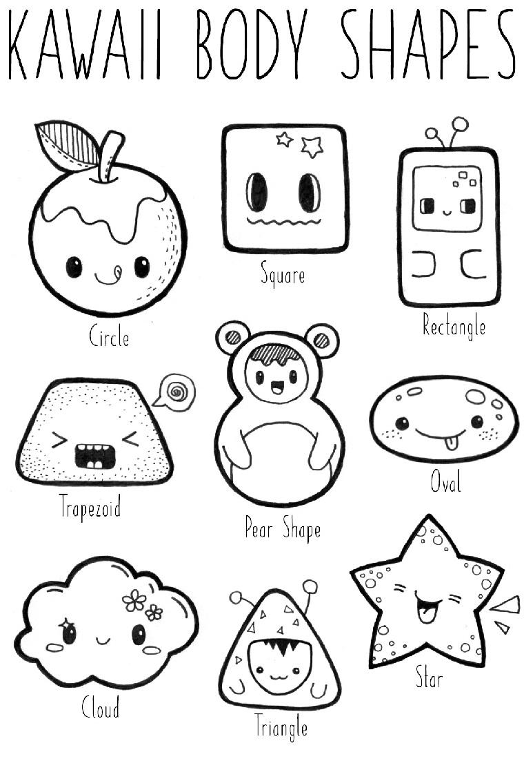 Disegni facili da disegnare, corpo di figure kawaii, schizzo di una mela