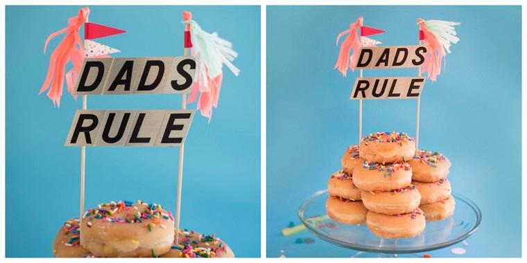 Regali per la festa del papà fatti a mano, ciambelle colorate, bastoncini di legno con scritte