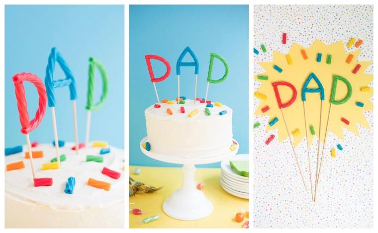 Lavoretto per bambini, torta con glassa bianca, topper scritta papà