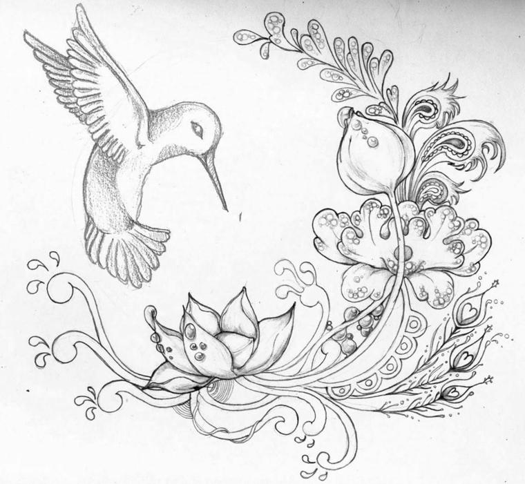 Fiori facili da disegnare, uccello che vola, fiori con gocce d'acqua