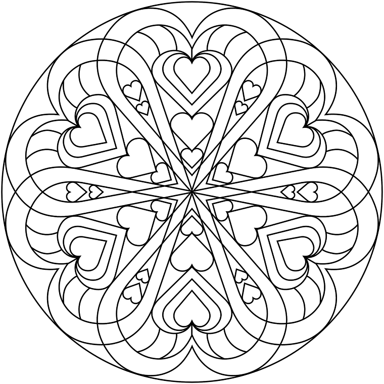 Cuore in un cerchio, disegni di cuori, mandala significato simbologia