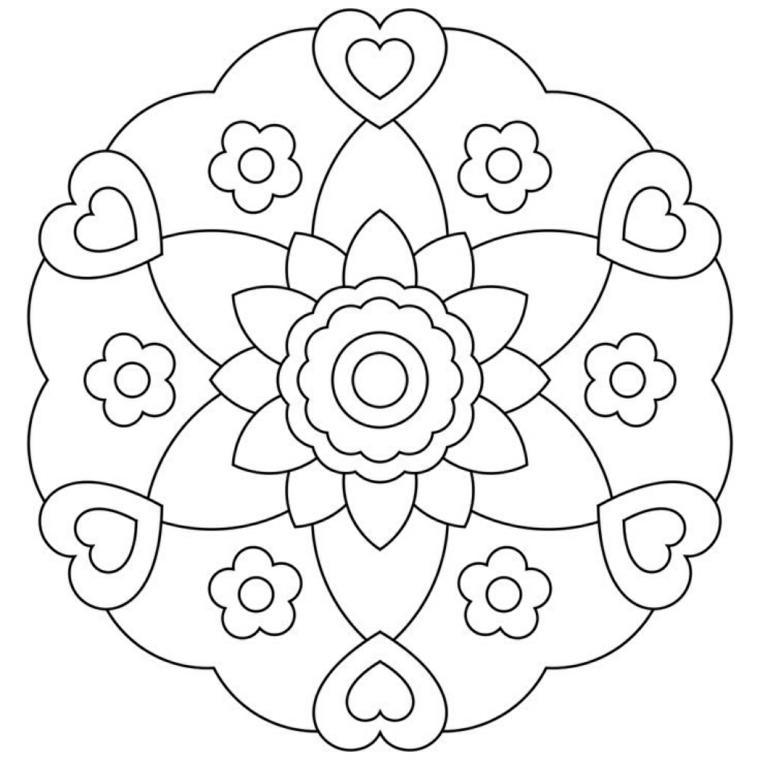Come disegnare un mandala, disegno con fiori, disegni di cuori