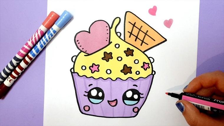 Cupcake con stelline, disegno con pennarelli colorati, disegnare con pennarelli