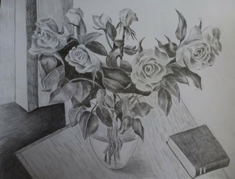Schizzo a matita, disegno di un vaso con fiori, abbozzo di rose