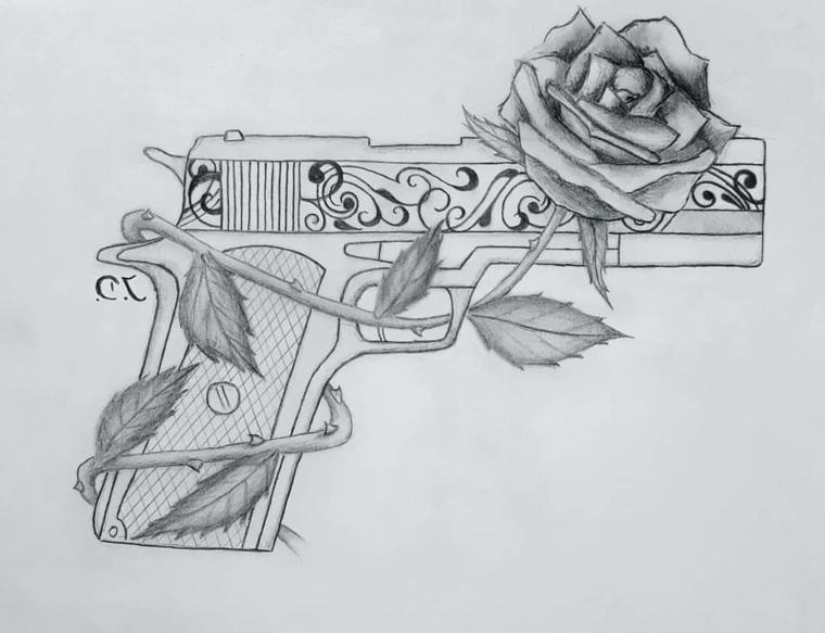 Pistola con rosa, schizzo a matita, abbozzo su foglio, rosa con sfumature
