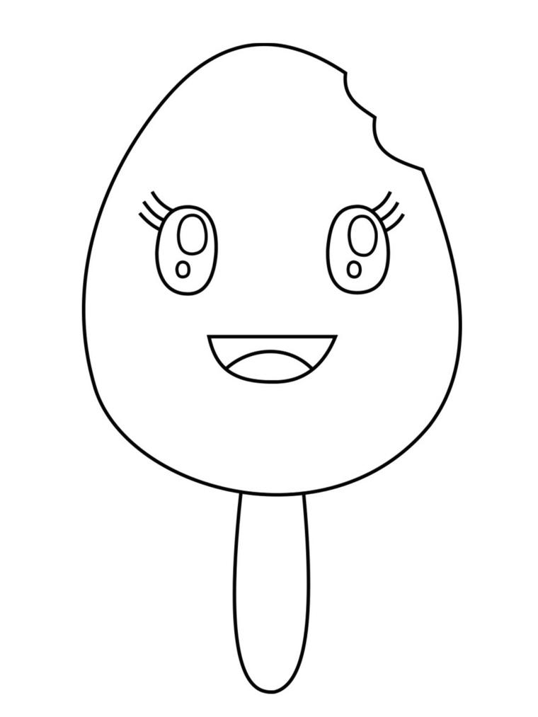 Gelato kawaii da colorare, gelato con faccina, disegni facili da copiare