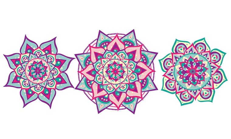 Tre disegni colorati, mandala da colorare, disegni di figure